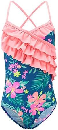 Girls One Piece Swimsuits Hawaiian Ruffle Swimwear Beach Bathing Suit
