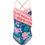 Toddler Girls One Piece Swimsuits Hawaiian Ruffle Swimwear Beach Bathing Suit Blue 3T