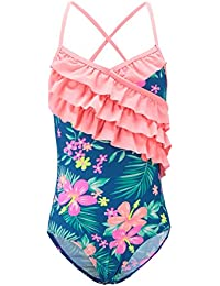 985c179716 Girls One Piece Swimsuits Hawaiian Ruffle Swimwear Beach Bathing Suit