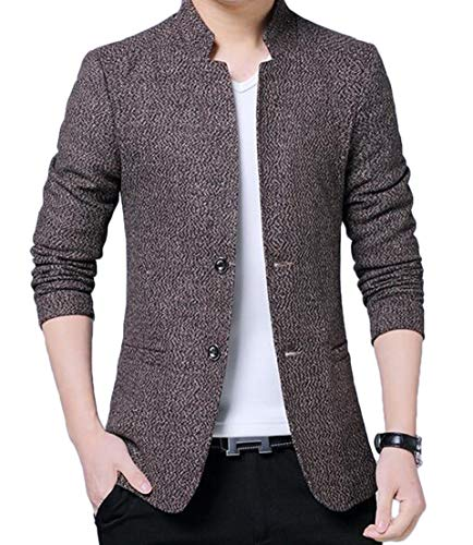 - UUYUK Men Casual 2 Button Mandarin Collar Slim Fit Blazer Jacket Sport Coat Khaki US 2XL
