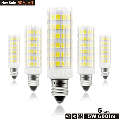 JD E11 LED Light Bulbs,Dimmable,5W,50W Equivalent,600LM, Daylight white 6000K,360°Beam Angle,110V, 120v,130V,T3 T4 E11 Base Light Bulb, Mini Candelabra (120 Volt T4 E11 Base)