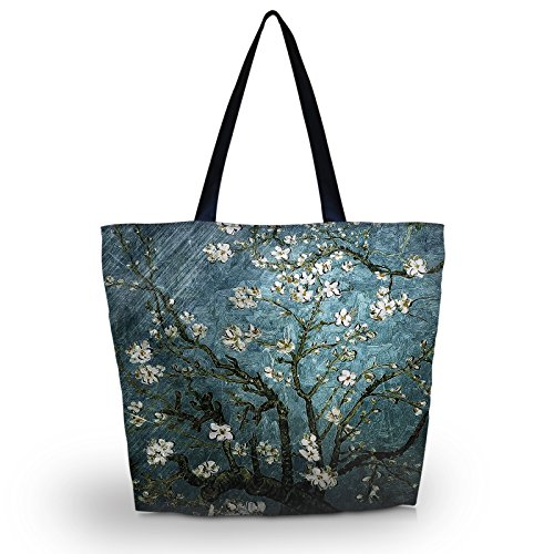 Newplenty Ladies Zippered Light Shoulder Shopping Tote Bag Handbag Beach Satchel (SB-19) (Tote Handbag Beach)