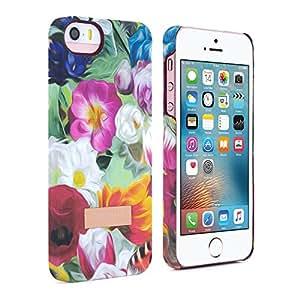 Ted Baker oficial SS16-Carcasa rígida para el iPhone de Apple se Snap On Funda Trasera Rígida en flor Print para mujer/chica, Colorful Flower Funda/Carcasa para Apple iPhone se-Floral Swirl
