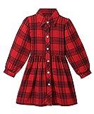ZANDZ Little Girls Cotton Sleeveless Button Pocket Plaid Casual Summer Dress(A-Red,6T-7T)