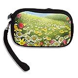 Women Wallets Beautiful Flower Garden Glass Wristlet Zipped Clutch Wrist bag