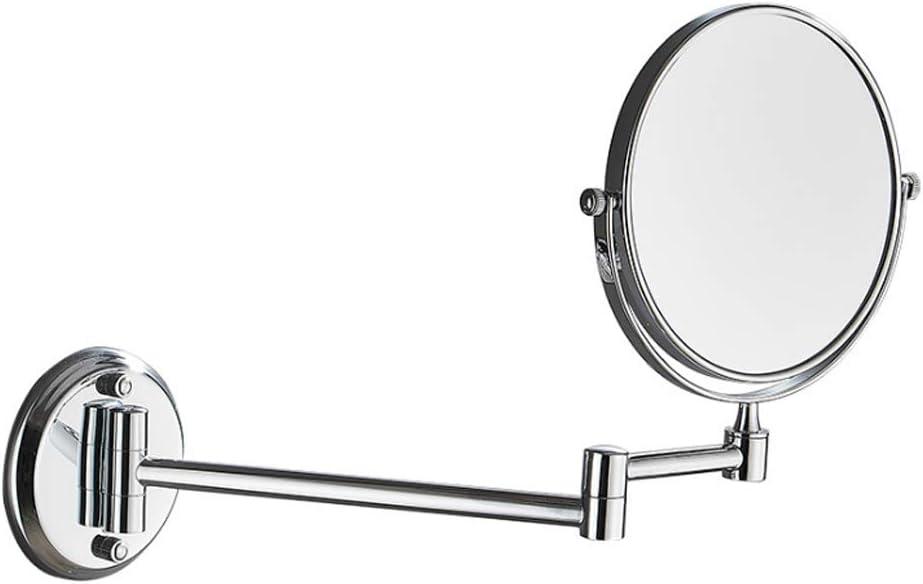 Miroir Cosm/étique pour Les H/ôtels avec Salle De Bain 21.5CM Miroir Grossissant Lumineux Mural 3X Bouton LED Miroirs De Maquillage,dor ZHENAI Double Face Miroir Mural