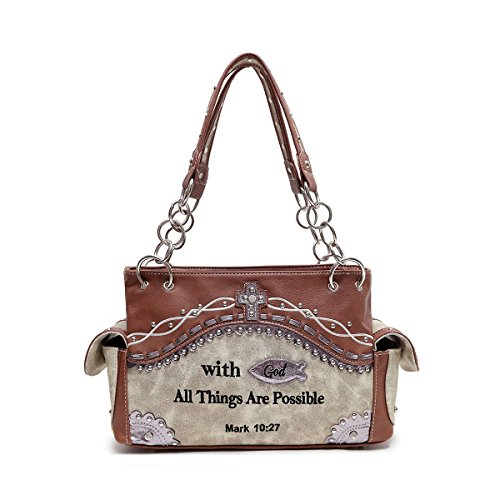 Purse Embellishment (Cowgirl Trendy Western Cross, Fish and Bible Verse Purse w. Conceal Carry Pocket Tan Stone)