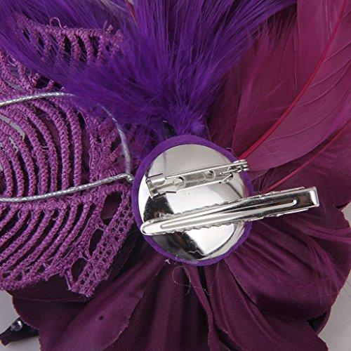 Phenovo Broche Pince à Cheveux Décorative Accessoire de Mariage - Violet