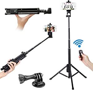 Loros Heavy Duty Bluetooth Remote Selfie Stick Tripod Stand Portable All-in-One Monopod Compatible with iPhone Xs/Xs Max/X/8/8 Plus/7/7 Plus/Galaxy S9/S9 Plus/Note 8/S8/S7/Android Phone