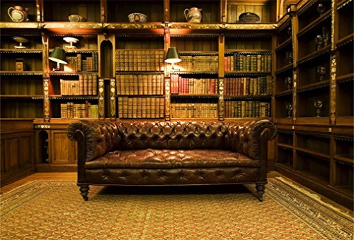 (AOFOTO 7x5ft Vintage Bookcase Background Retro Bookshelf Photography Backdrop Leather Sofa Persian Carpets Man Boy Girl Adult Artistic Portrait Nostalgia Photoshoot Studio Props Video Drape Wallpaper)