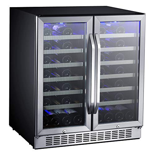EdgeStar CWR5631FD 30-Inch 56 Bottle Built-In Dual Zone French Door Wine Cooler ()