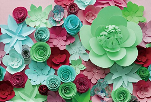 AOFOTO 7x5ft Valentine's Day 3D Paper Flowers Backdrop Floral Gifts Birthday Party Decoration Wedding Ceremeny Anniversary Photography Background Child Girl Newborn Portrait Photo Shoot Props - Floral Backgrounds Photography