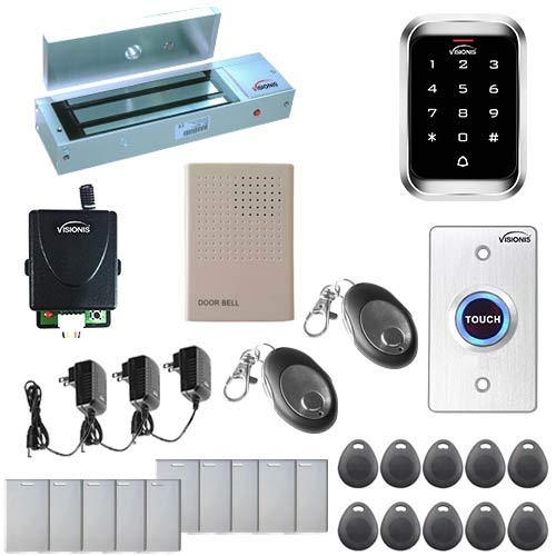 Visionis FPC-5147 One Door Access Control Outswinging Door 1200lbs Maglock with VIS-3000 Outdoor IP68 Weatherproof Keypad/Reader Standalone EM Mifare no Software 2000 Users Wireless Receiver Kit