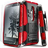 Evocel® DROID MAXX 2 Case [Generation Series] Rugged Holster [Kickstand & Belt Swivel Clip] + HD Screen Protector For DROID Maxx 2 XT1565/ Moto X Play (2015 Release), Red (EVO-MOTXT1565-AB203)