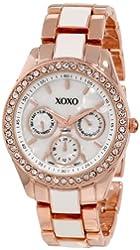 XOXO Women's XO5584 Rhinestones Accent Rosegold White Bracelet Watch