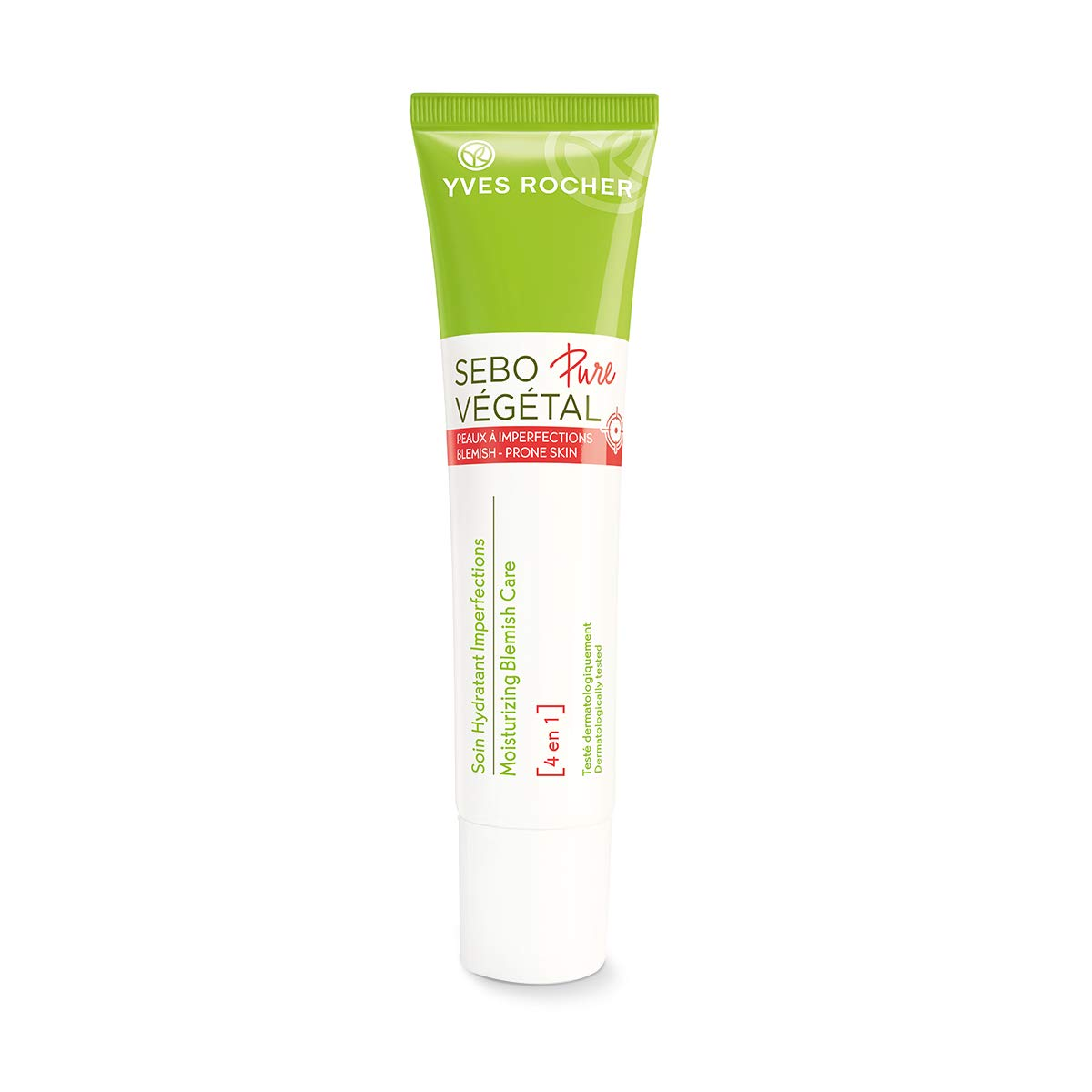 Yves Rocher Sebo Pure Végétal Face Moisturizing Blemish Care 4 in 1 with Salicylic Acid, for Acne-prone Skin 40 ml tube