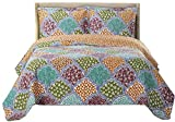 Dahlia Full / Queen Size, Over-Sized Coverlet 3pc set, Luxury Microfiber Printed Quilt by Royal Hotel