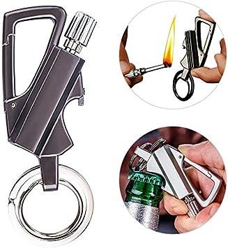 A Keychain Flint Fire Starter and Bottle Opener Car Key Ring Kerosene Fillable Lighter Gift Male Female Outdoor Emergency Lifesaving Equipment N