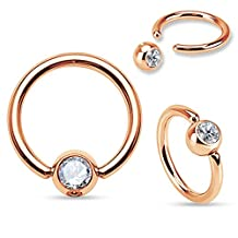 Pair of 16 or 14 Gauge Gem Set Ball Rose Gold IP Stainless Steel Captive Bead Ring C263
