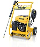 WOLF 200 BAR, 3000psi, 6.5HP Heavy Duty Petrol Driven Pressure Power Washer - Full Spares & Service Support - Kit Includes Gun, Lance, 4 Quick Fit Nozzles and 6m High Pressure Hose - 2 YEAR WARRANTY