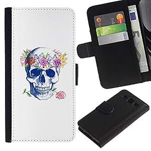 A-type (Cráneo del amor de Rose floral de la guirnalda de la primavera) Colorida Impresión Funda Cuero Monedero Caja Bolsa Cubierta Caja Piel Card Slots Para Samsung Galaxy S3 III i9300 i747