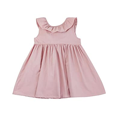 ❤️Elecenty Mädchen Prinzessin Kleid,Kinder Solide Strandkleid Rückenfrei  Hochzeitskleid Sommerkleid Bowknot Ärmellos Maxikleid Festzug 6e79b65d79