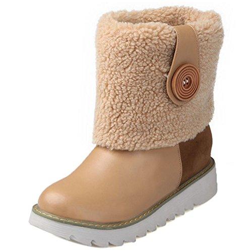 Women apricot On Pull Cuff KemeKiss Boots Collar 10qwqa6