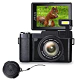 Digital Camera Vlog Camera Full HD 1080p Point and Shoot Camera Flip Screen Camera Flash light Camcorder with Lens Cap