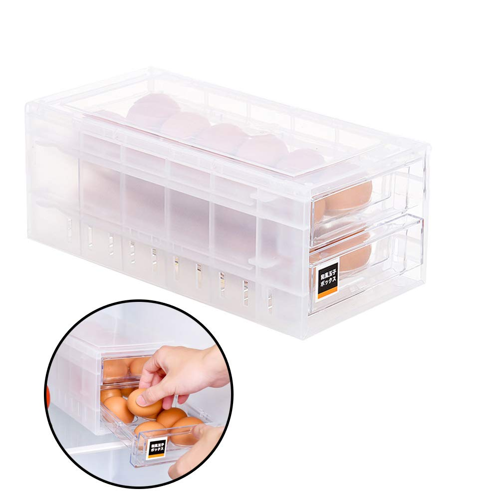 GardenHelper Drawer Style Eggs Holder, Egg Dispenser Container Large Capacity Refrigerator Storage Container for 24 Eggs