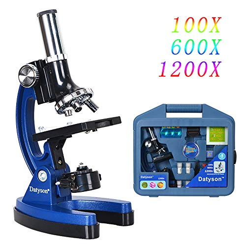 Lab Microscope 100X-1200X,Light Microscope with Slides,Bright Field Handheld Microscopes for Kids,Binocular Optical Microscope for Students with 3 Lens(10X 60X 120X) Portable