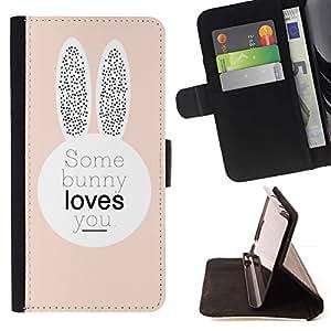For Samsung Galaxy Note 4 IV Case , Bunny Love Usted Peach orejas de conejo lindo- la tarjeta de Crédito Slots PU Funda de cuero Monedero caso cubierta de piel