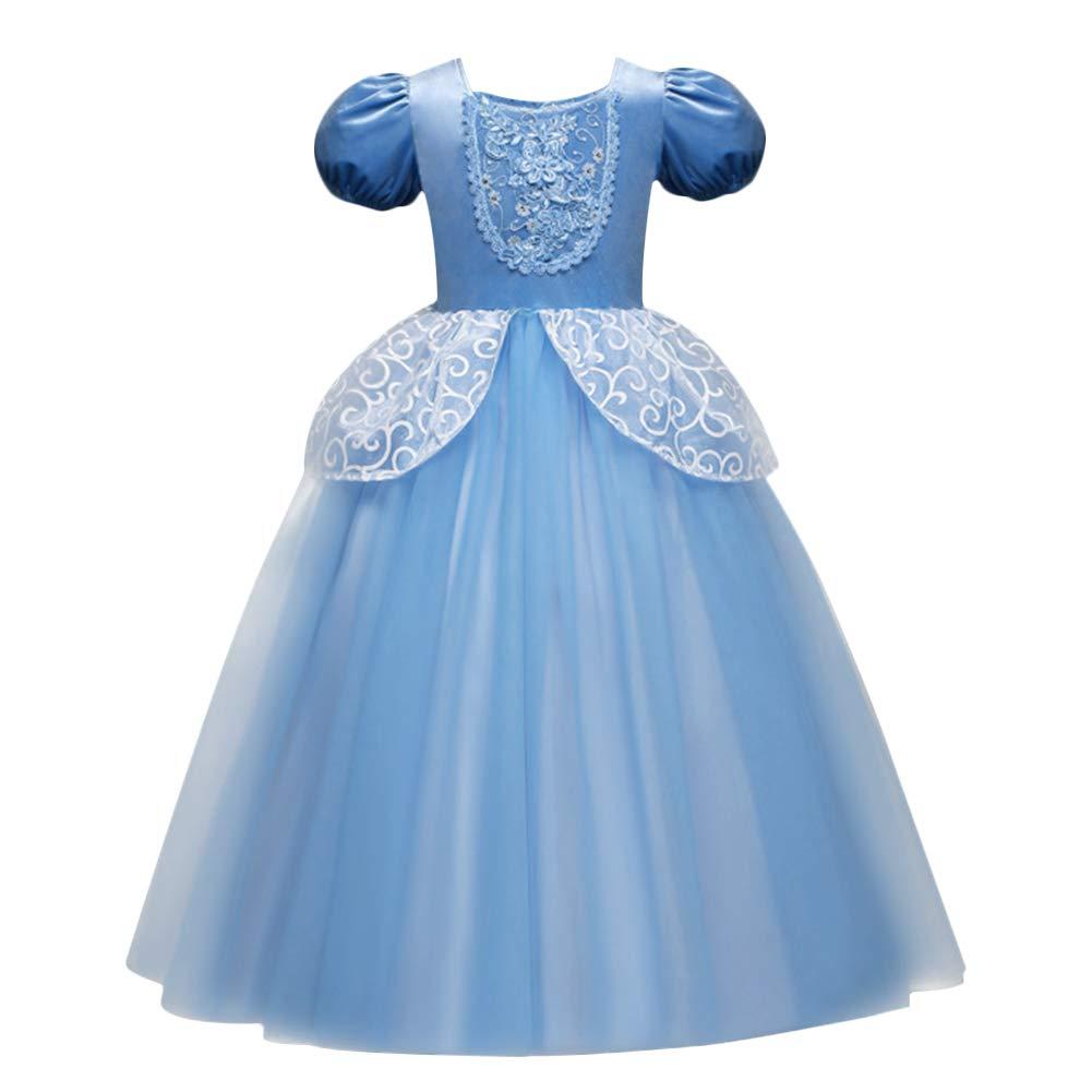 1fe04e53b9 Amazon.com  Cinderella Costume Princess Fancy Dress Up Kids Girls Cosplay  Birthday Halloween Party Long Maxi Ball Gown Blue 3-9Y  Clothing