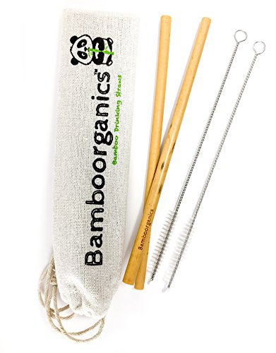 Zero Waste, Reusable, Premium Bamboo Drinking Straws & Natural Cotton Travel Bag | Large Mouth Straw Set of 10 with 2 Cleaning Brushes | Eco-Friendly, Biodegradable | 8in Long by Bamboorganics (Image #3)