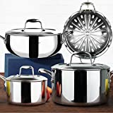 HOMI CHEF Mirror Polished NICKEL FREE 7-Piece Cookware Set Stainless Steel (Stock Pot + Saute Pan + Sauce Pan + Steamer Insert, No Toxic Non Stick Coating) - Induction Cookware Pots And Pans Set