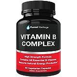 Vitamin B Complex Vitamins B12, B1, B2, B3, B5, B6, B7, B9, Folic Acid - Super B Complex Vitamins for Women, Men, Adults – Aids in Energy, Stress, and Immunity - 90 Vegetarian Capsules