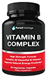 Vitamin B Complex Vitamins B12, B1, B2, B3, B5, B6, B7, B9, Folic Acid - Super B Complex Vitamins for Women, Men, Adults – Aids in Energy, Stress, and Immunity - 90 Vegetarian Capsules
