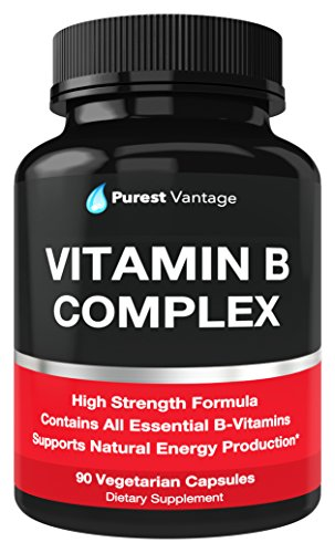 Vitamin B Complex Vitamins B12, B1, B2, B3, B5, B6, B7, B9, Folic Acid - Super B Complex Vitamins for Women, Men, Adults – Aids in Energy, Stress, and Immunity - 90 Vegetarian Capsules (B-complex Vitamin Formula)
