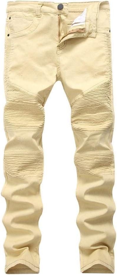 メンズジップワイドパンツ 機関車カジュアルメンズジーンズ男性のスリムカジュアル穴ストレートジーンズ子供のジーンズ エフェクトライトウォッシュ (Color : Khaki, Size : 30)