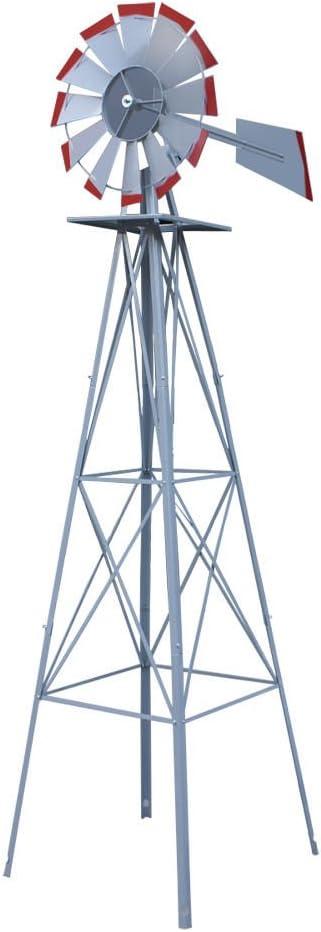 Wichai Shop WShop 8Ft. Silver Red Tips Windmill Ornamental Garden Weather Vane Weather Resistant