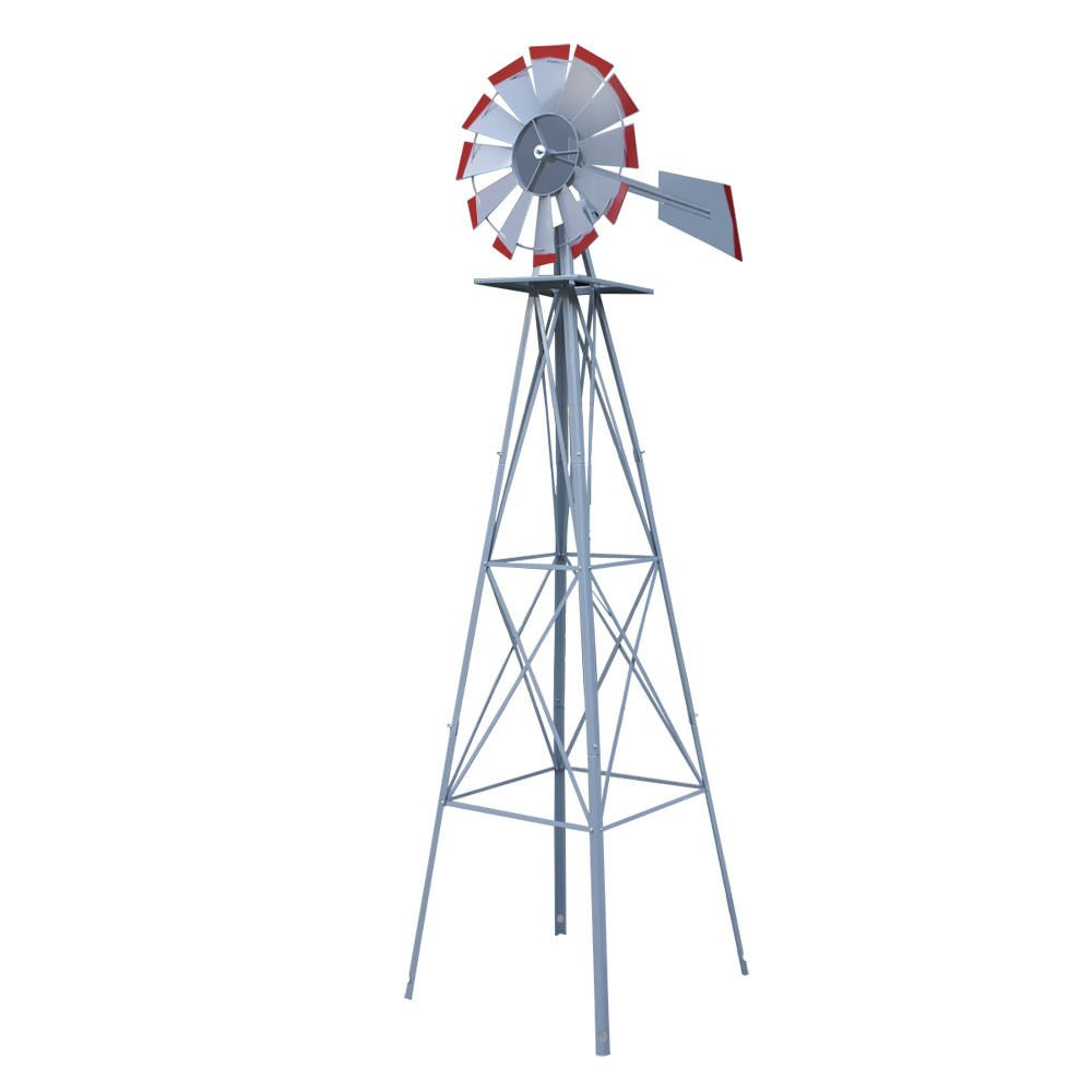 Alitop 8ft. Ornamental Decorative Garden Yard Windmill Silver - Red Tips
