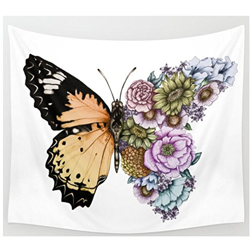 KRWHTS Wall Tapestry Butterfly Decor Monarch Butterflies Vintage and Damask Ombre Background Floral Pattern, Wall Hanging Art for Bedroom Living Room Dorm