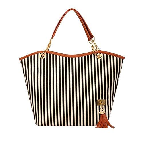 Rakkiss Women Canvas Shopping Handbag Girl Stripe Tassels Chain Shoulder Tote Shop Bag Casual Handbags (One_Size, Black)