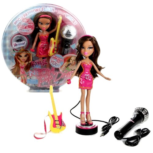 (MGA Entertainment Bratz Neon Pop Divaz Series 10 Inch Doll Playset - Yasmin with Guitar and Microphone)