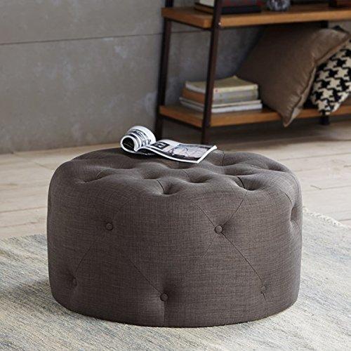 Plugtronics Jenna Round Button Tufted Ottoman 100% Polyester (Grey)