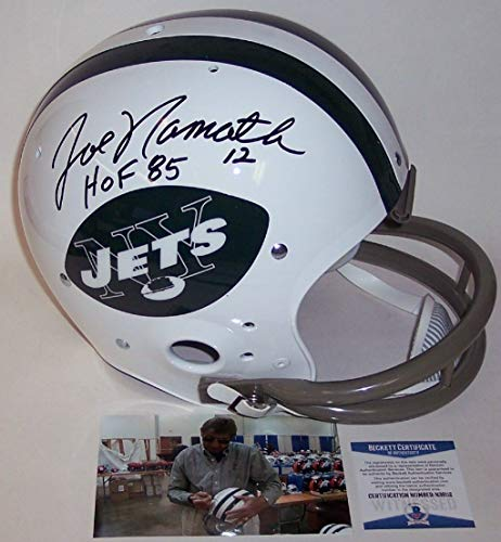 Joe Namath Autographed Hand Signed New York Jets Throwback Full Size Helmet - BAS Beckett Authentication