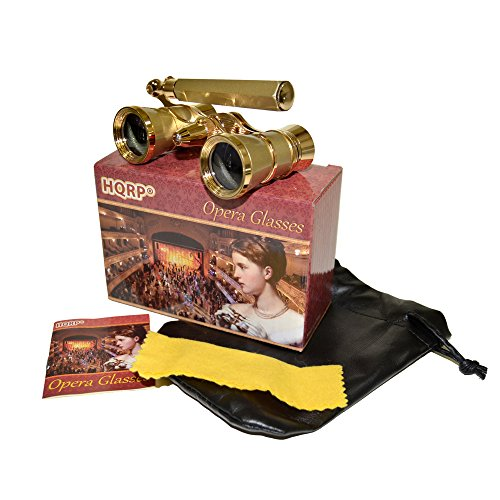 HQRP Opera Glasses s w/ Crystal Clear Optic (CCO) 3 x 25 with Built-In Foldable Handle and Red Reading Light (Yellow-pearl with Gold)