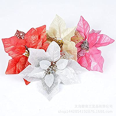 Crazy Night (Pack of 12 Glitter Poinsettia Christmas Tree Ornaments