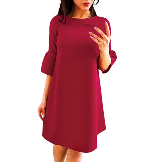 48b95e2a86e ESAILQ Frauen Sommer Casual Mediate Sleeve Abend Party Strand Kleid Short  Mini Dress  Amazon.de  Bekleidung