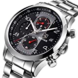 BENYAR Stainless Steel Band Strap Watches Chronograph Waterproof Business Casual Cool Wrist Watch with Date for Men (Steel Black)