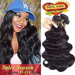 QTHAIR 10A Brazilian Virgin Body Wave Natural Black 100% Unprocessed Brazilian Virgin Hair Body Wave Hair Bundles Weave Remy Wavy (22 24 26 28)